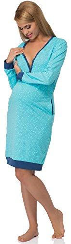 da Scuro Turchese 606 Blu Premaman Camicia Notte Cornette 5T0wAq7Oq