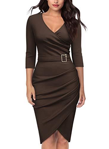 (Knitee Women's 3/4 Sleeve V-Neck Pleated Office Evening Nightout Cocktail Party Bodycon Sheath Dress)