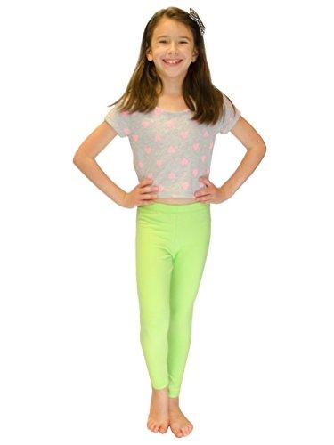 Vivian's Fashions Long Leggings - Girls, Cotton (Lime, -