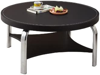 ioHOMES Circular Leatherette Coffee Table Black