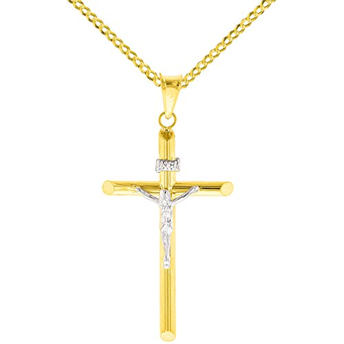 Tube Cross Charm - 14K Two-Tone Gold Tube Cross Charm Jesus Crucifx Pendant with Cuban Chain Necklace, 16