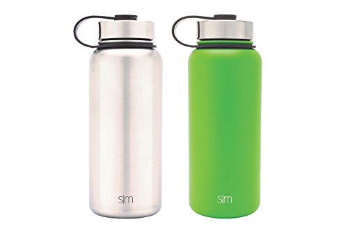 Water Aluminum (Simple Modern 32oz Summit Water Bottle 2 Pack - Two Vacuum Insulated Stainless Steel Wide Mouth Hydro Travel Mugs - Powder Coated Double-Walled Flask - Candy Apple Green/Stainless Steel)