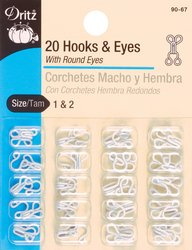 Great Deal! Dritz White Hooks & Eyes 2/Pkg-Size 1 & 2
