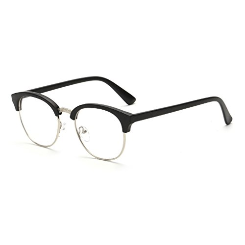 LOMOL Fashion Retro Personality Transparent Lens Semi-rimless Comfortable Myopia Frame - King Sunglasses Fly Black Flys