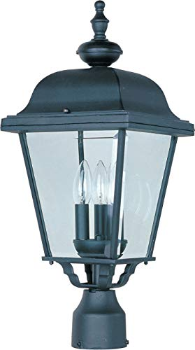 (Maxim 3008BK Builder Cast Aluminum Outdoor Post Lighting 9 by 24 Inch - Outdoor Light Fixtures for Lobby, Courtyard, Balcony, Dockyard. Lighting)