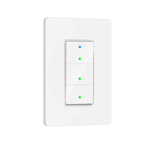 Smart Light Switch, 3 Way WiFi Smart Switch Button, Compatible with Alexa and Google Home, Remote Control with Timing Funtion, No Hub Required,Smart Life APP Provides Control from Anywhere