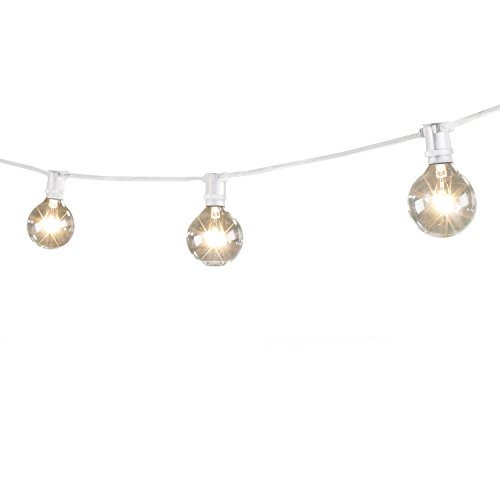 Bulbrite STRING15/E12 Outdoor Mini String Light w/Incandescent G16 Globe Bulbs, 25-Feet, 15 Lights Sockets
