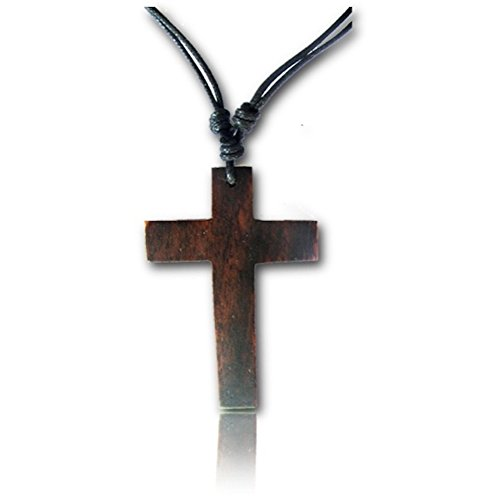 Earth Accessories Adjustable Cross Pendant Necklace with Organic Wood