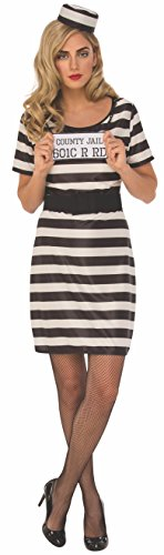 Rubie's Women's Standard Prisoner Woman, Black/White, Small