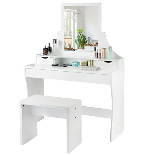 CHARMAID Vanity Set with Mirror & Stool, Makeup Dressing Table with 1 Large Sliding Drawer & 2 Small Drawers, Makeup Vanity Set for Girls Women Bedroom, Mirrored Vanity Table Set (White) Bedroom Mirrored Bedroom Set