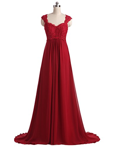 Beaded Empire Waist Prom Dress - Erosebridal Boho Style Lace Chiffon Prom Dress Party Gowns Long Second Wedding Dresses Size 12 Burgundy
