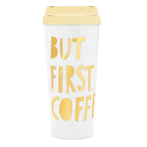 Gold Band Coffee (Ban.do HOT STUFF THERMAL MUG - BUT FIRST COFFEE - SPECIAL EDITION, METALLIC GOLD)