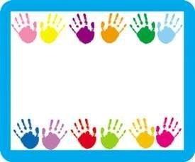 * NAME TAGS HANDPRINTS 40/PK SELF-ADHESIVE - (Self Adhesive Handprints Name Tags)