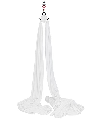 Aerial Silks Equipment for Acrobatic Flying Dance, Includes all Hardware, Fabric and Guide (White, 9 Yards)