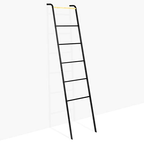 Brightech - Mila Decorative Ladder- Sturdy Metal and Wood Accessory for Indoor Outdoor Garden Porch Patio - Jet Black ()