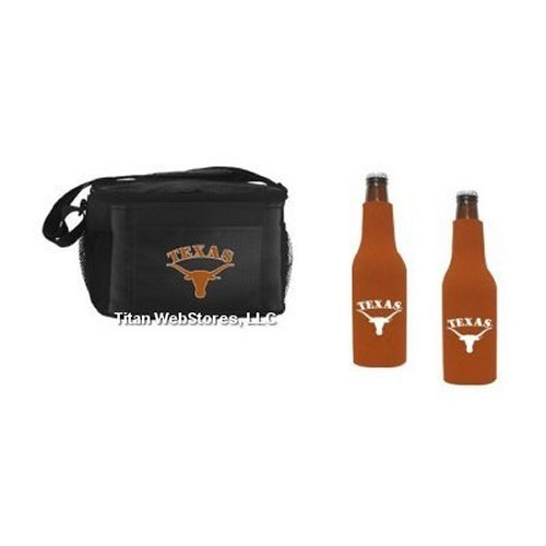 NCAA Texas - Picnic Cooler with Zippered Beer Bottle Insulators (2) | Texas Longhorns Beer Bottle Cooler (Neoprene Zippered Bottle Suit Cooler)