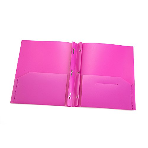 COMIX 2 Pocket Letter Size Poly File Portfolio Folder with Three-Prong Fastners - 12 Pack (Pink Violet Purple) Photo #2