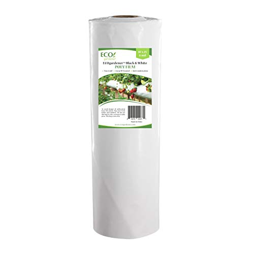 (Black and White Poly Film - 10' x 25' 6mil, 4 Year UV Treated, Heavy Duty Polyethylene Sheeting by ECOgardener)
