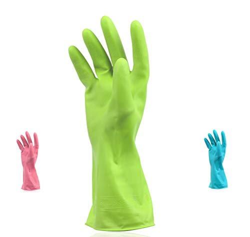 Set of 3 Pairs - Reusable Waterproof Household Cleaning Dishwashing Kitchen Glove,Long Sleeve Durable Latex Working, Painting, Gardening Gloves,Pet Care (Large, 3 Colors Pink Green Blue).