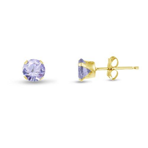 Kezef Rond 2 mm-Lavande-Oxyde de Zirconium Violet Plaqué Or Boucles d'oreilles en jaune Argent