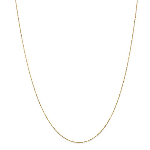 (14k Yellow Gold .5 Mm Cable Link Rope Chain Necklace 16 Inch Pendant Charm Carded Fine Jewelry Gifts For Women For Her)