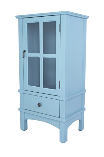 Heather Ann Creations W191095-1408 The Vivian Collection Contemporary Living Room Wooden Single Paned Glass Door Wood Storage Organizer with Drawer, Aqua