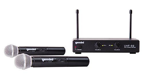Gemini UHF Series UHF-02M-S12 Professional Audio DJ Equipment Dual Channel Wireless UHF System and Handheld Wireless Microphone with 150ft Range