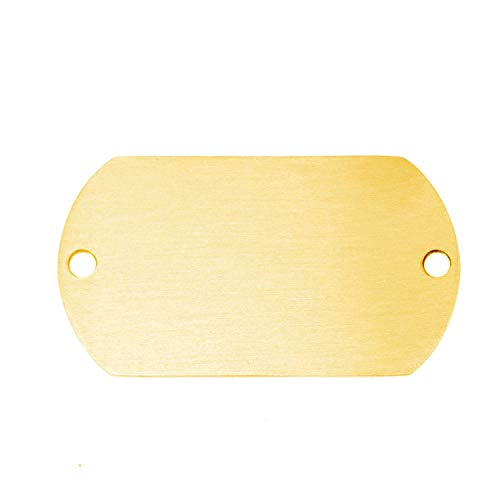 Stainless Steel Matte Surface 2 Loop Holes Dog Tag Blank Id Tags Both Sides Brush Polished 50 Pcs,28x49gold