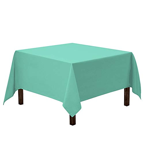 Vedouci Tiffany Blue Square Tablecloth - Stain Resistant, Waterproof and Wrinkle Resistant Washable Table Cloth for Card Tables, 54 x 54 Inch,Tiffany Blue