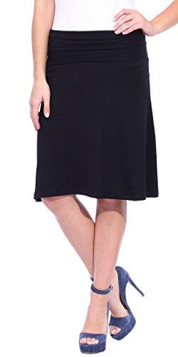 Mid Length Stretch Skirt (Popana Short Maxi Skirt - Knee Length Fold-Over Stretch Midi Skirt XL in Black - Made in)