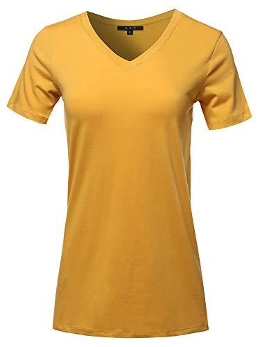 Basic Solid Premium Cotton Short Sleeve V-Neck T Shirt Tee Tops DK Mustard 1XL