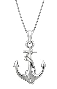 """Sterling Silver Ship Anchor and Rope Necklace Pendant with 18"""" Box Chain"""