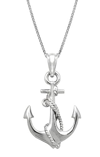 - Honolulu Jewelry Company Sterling Silver Ship Anchor and Rope Necklace Pendant with 18