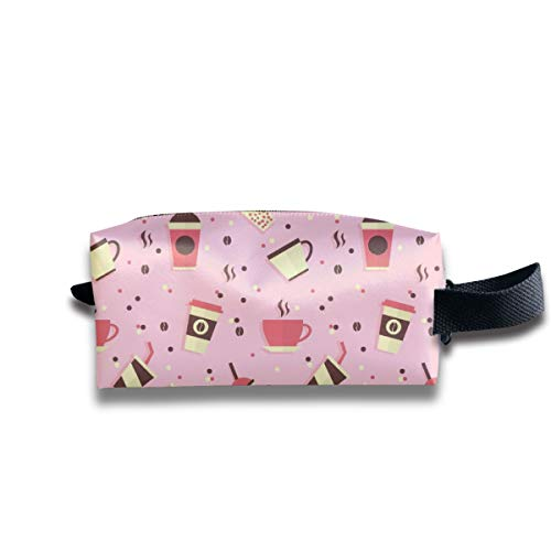 Small Toiletry Bag Pink Coffee Pattern,Pencil Case,Travel Essentials Bag,Dopp Kit Bag For Men And Women With Handle