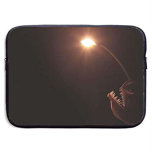 Anglerfish Monkfish Light 13-15 Inch Laptop Sleeve Bag Portable Dual Zipper Case Cover Pouch Holder Pocket Tablet Bag,Water Resistant,Black