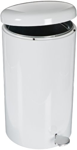 "Witt 2270WH Stainless Steel Step On Can Biohazard Waste Container with Galvanized Liner, 7gal Capacity, 11"" Diameter x 21"" Height, White"