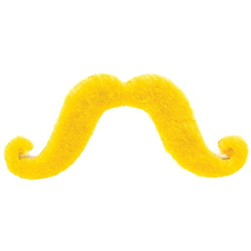 (Amscan Party Perfect Team Spirit Handle bar Style Moustache Accessory, Yellow, Synthetic Felt, 2