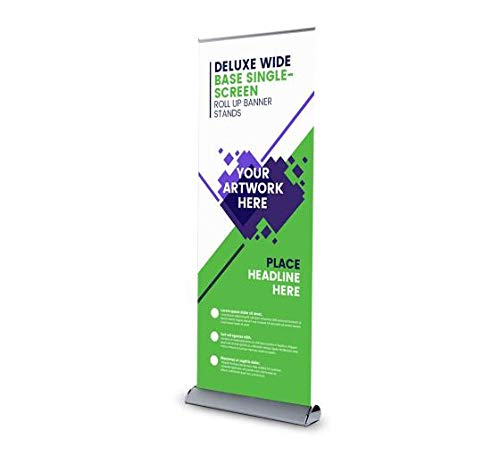 Deluxe Wide Base Single-Screen Roll Up Banner Stand, Tradeshow Display Retractable Aluminium Stand, Promotional Banner Sign Holder (Print with hardware, 2' X 6.5') (Sign Rollup Display Deluxe)