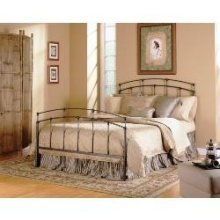 Fashion Bed Group 3/3 Fenton Complete Bed with Metal Duo Panels and Globe Finials, Black Walnut Finish, Twin,