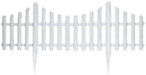 xlhai Juego de 4 Mini Paneles de Valla de jardín de Color Blanco, de la Marca, Efecto de Madera, de plástico, para Bordes de Plantas y Camas de Flores: Amazon.es: Jardín