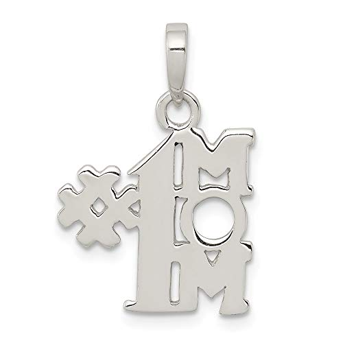 Jewelry Stores Network Number One Mom Pendant in 925 Sterling Silver 22x15mm