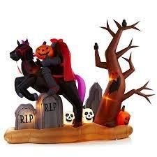 Gemmy 9ft X 7 Ft Halloween Animated Headless Horseman Graveyard Airblown Inflatable (Headless Horseman Inflatable)