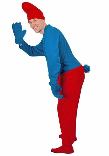 PajamaCity Gnome Adult Footies Costume in Blue and Red - with Accessories - CLOSEOUT, 8 -
