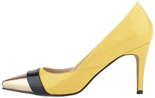 Calaier Damen Cadragon 11CM Stiletto Schlüpfen Pumps Schuhe Mehrfarbig