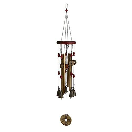 Aloha Chime - ROSENICE Wind Chimes Living Windchime Metal Wood 4 Tubes 5 Bells Copper Yard Garden