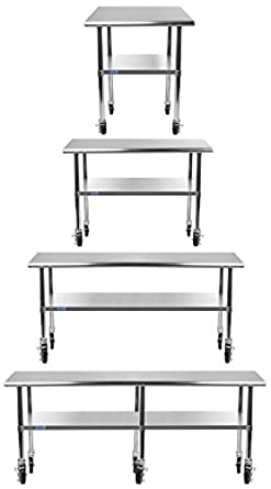 AmGood Stainless Steel Work Table   With Undershelf U0026 Casters (Wheels) |  Food Prep
