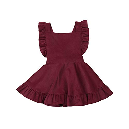 Summer Toddler Kid Baby Girl Dress Ruffles Dress for Girl Strap Sleeveless Corduroy Party Holiday Dress Baby Clothes Red 4T