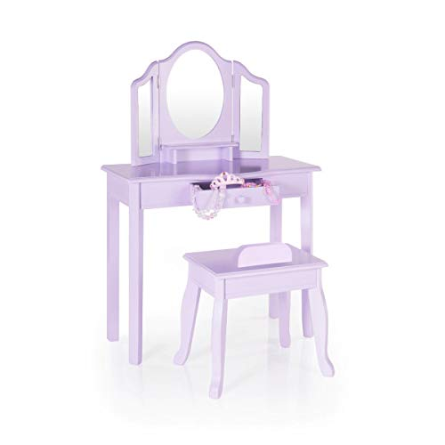 Guidecraft Vanity and Stool - Lavender: Children's Table and Chair Set with 3 Mirrors and Make-Up Drawer Storage - Kids' Room Furniture by Guidecraft