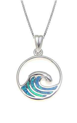 Hawaiian Tail Whale (Aloha Jewelry Company Sterling Silver Created Blue Opal Wave Neckalce Pendant with 18