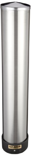 San Jamar C3400P 12-24 oz Stainless Steel Pull Type Beverage Cup Dispenser with Removable Cap](Styrofoam Cup Dispenser)
